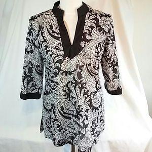 Black & white cotton tunic. New w/tags. Small